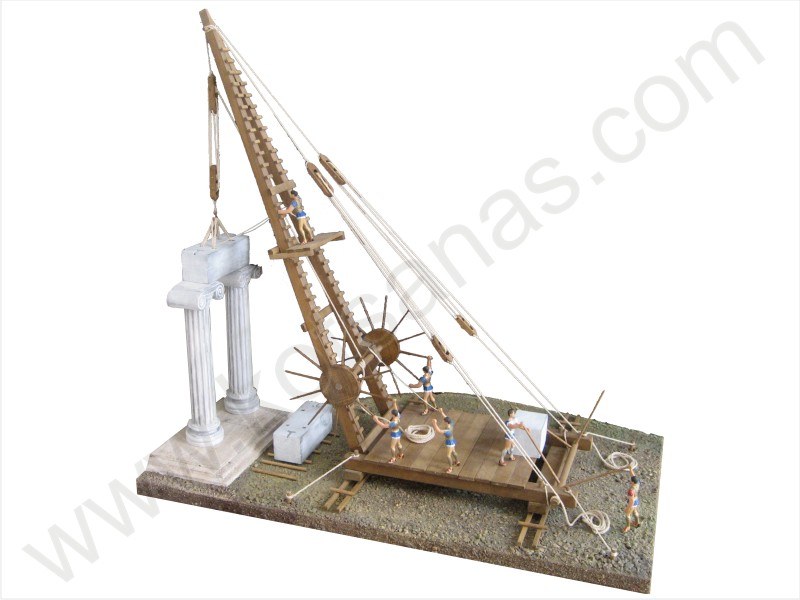 Crane With Winches For The Elevation Of Mast And Load
